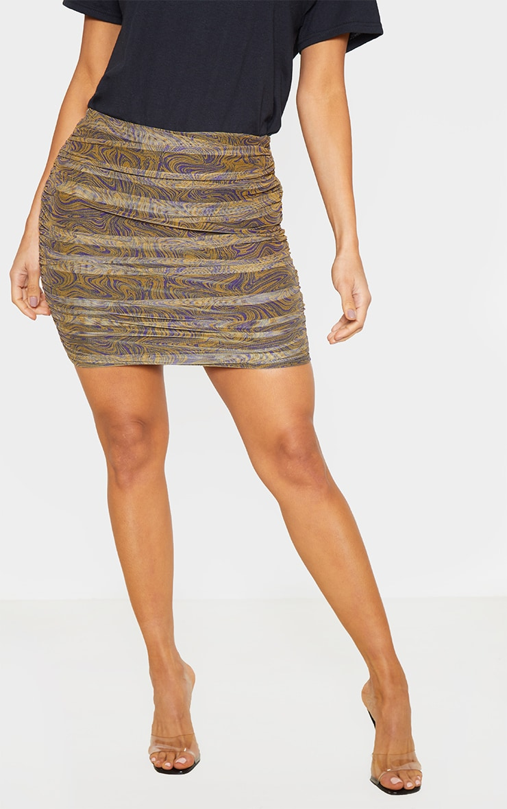 Mustard Geo Print Mesh Ruched Detail Mini Skirt  2
