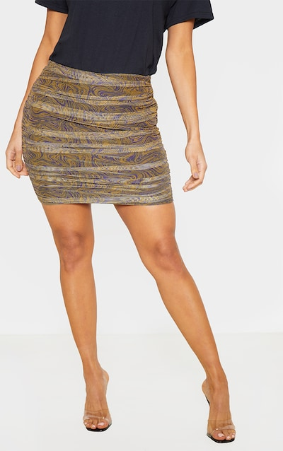 Mustard Geo Print Mesh Ruched Detail Mini Skirt
