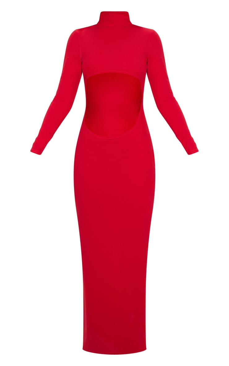 Red High Neck Long Sleeve Extreme Centre Cut Out Midi Dress 3