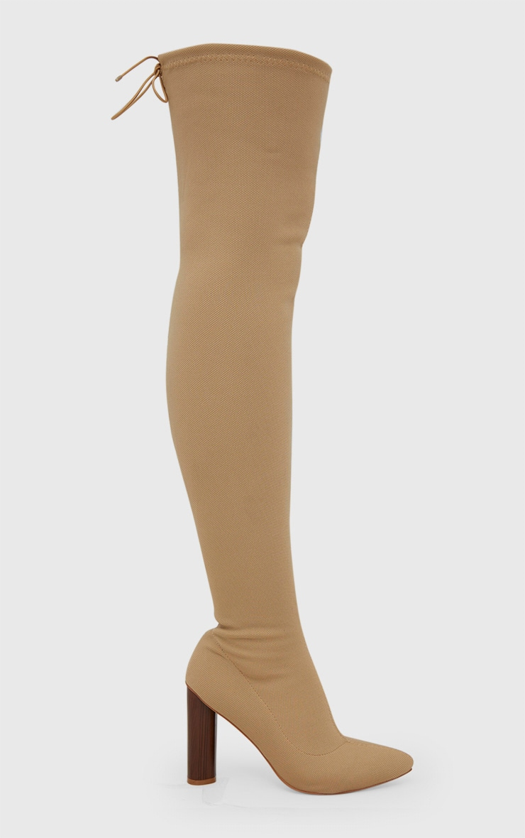 Nude Woven Thigh High Sock Heeled Boots  3