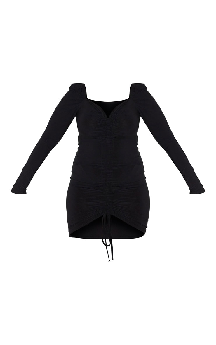 Plus Black Ruched Front Long Sleeved Bodycon Dress 3