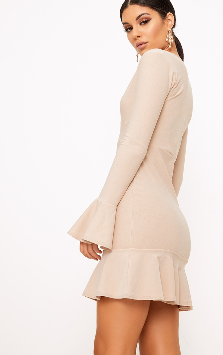 Nude Plunge Frill Sleeve Bodycon Dress 2
