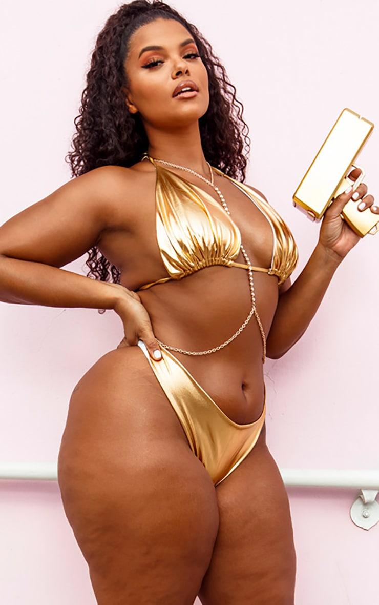 PLT Plus - Bas de bikini échancré doré  2