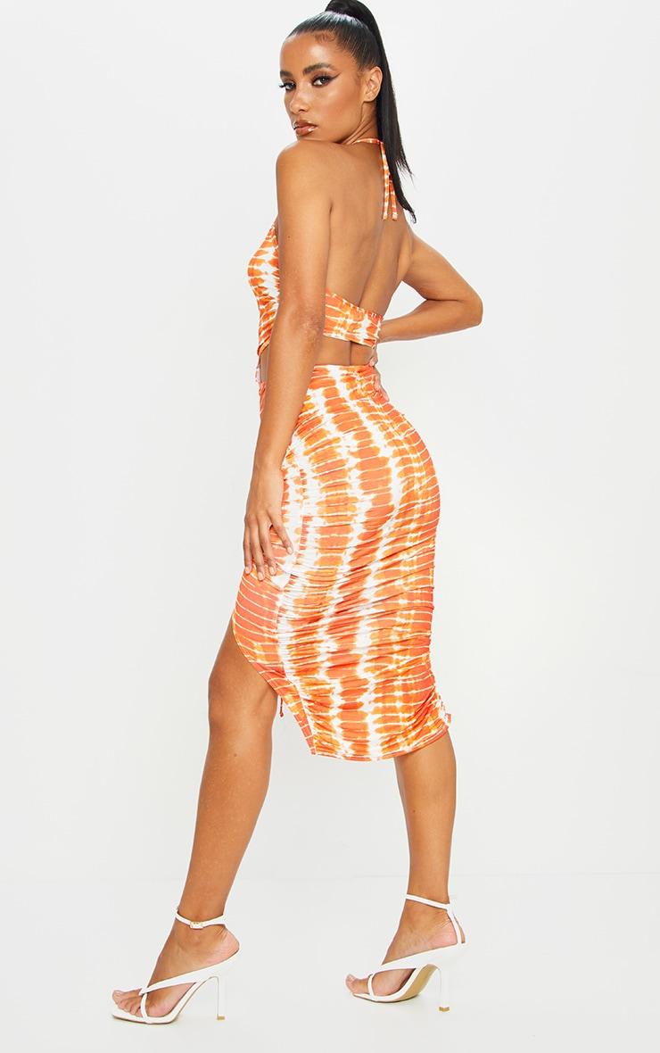 Orange Tie Dye Slinky Halterneck Cut Out Ruched Midi Dress 2