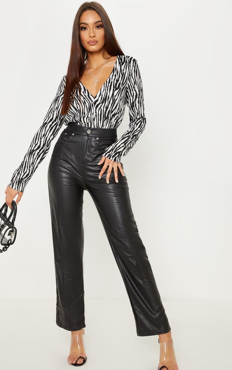 Mono Zebra Print Plunge Satin Bodysuit 3