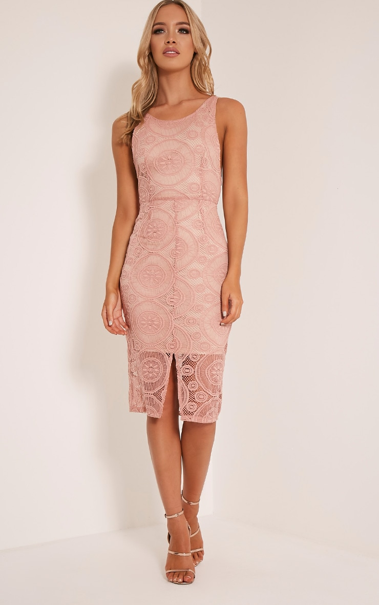 Tammy Dusty Pink Scoop Back Lace Midi Dress 1