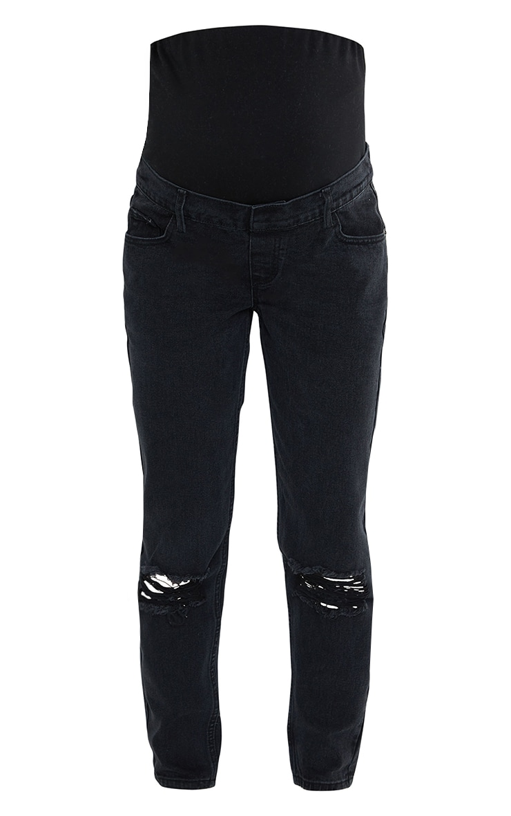 Maternity Black Washed Black Ripped Knee Mom Jeans 5