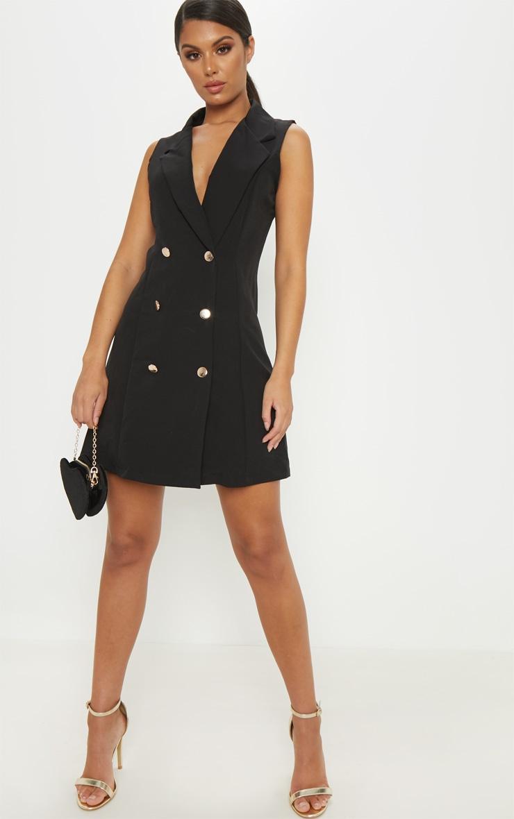 Black Sleeveless Blazer Dress 4
