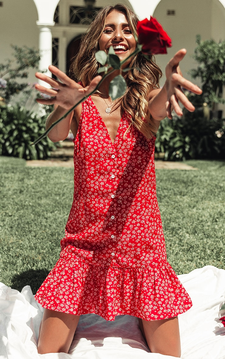 Red Ditsy Floral Button Through Shift Dress 1