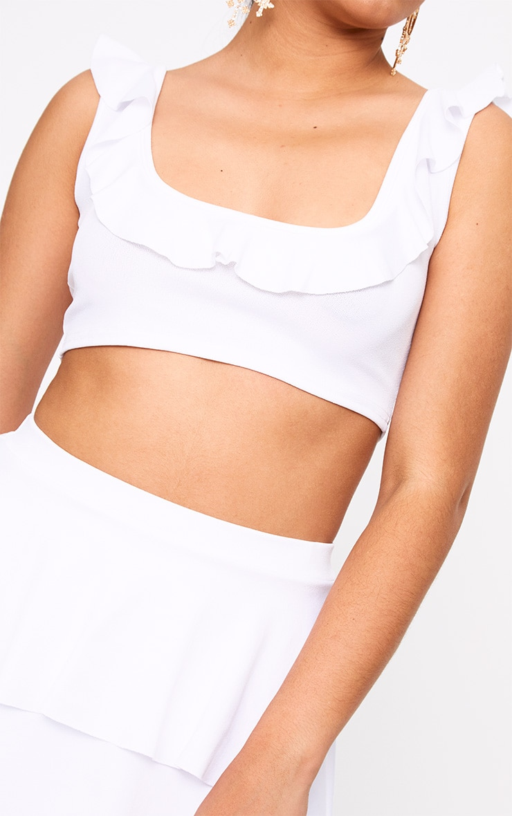White Frill Low Scoop Crop Top 4
