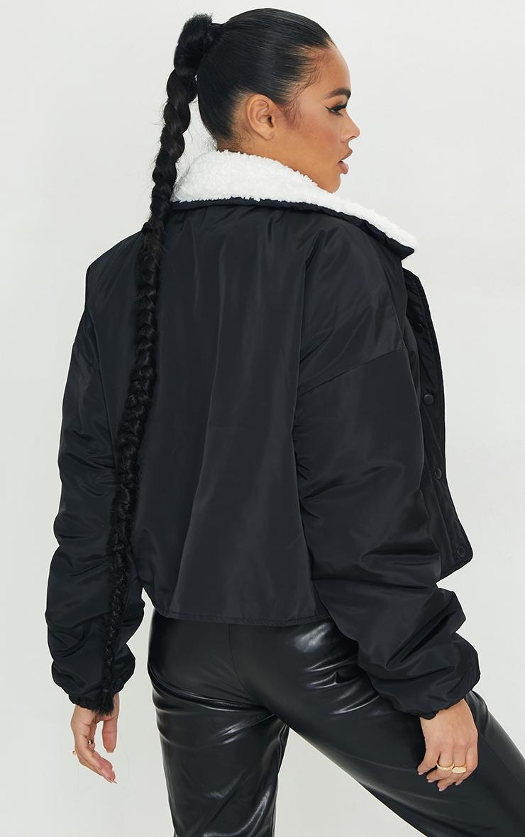 Veste bomber noir à col faux mouton 2