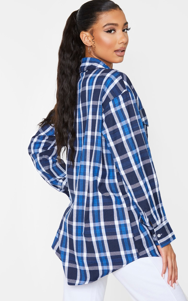 Blue Check Oversized Long Sleeve Dad Shirt 2
