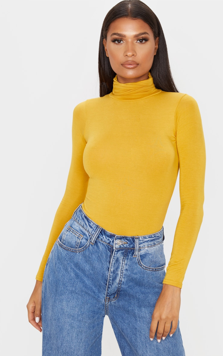 Basic Mustard Long sleeve Roll Neck Top  1