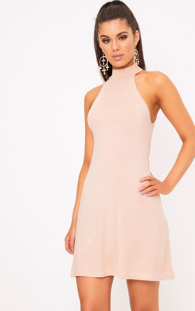 Nude Jersey High Neck Swing Dress 1