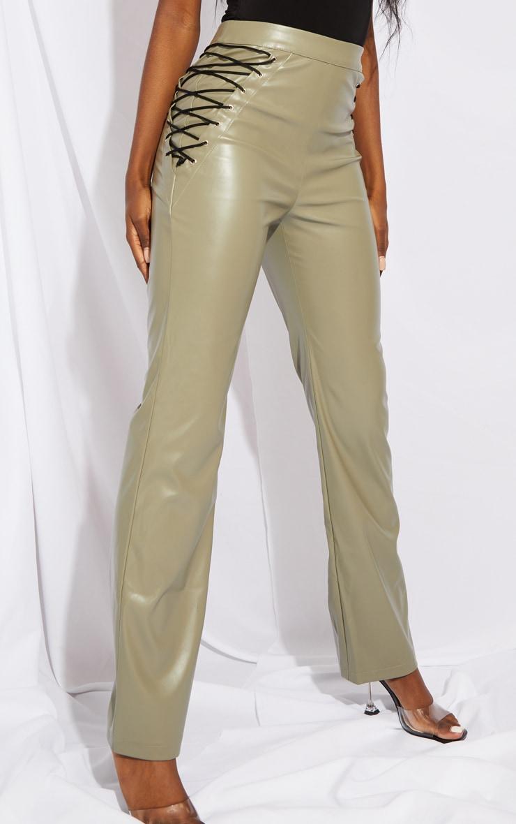 Tall Khaki PU Lace Up Side Detail Trousers 2