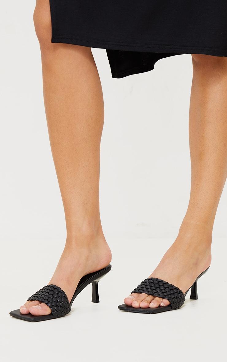 Black Woven Strap Square Toe Low Heel Mules 2