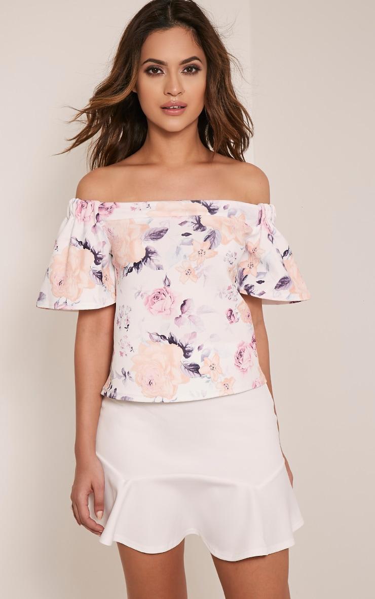 Hayleigh Pink Floral Bardot Top 1