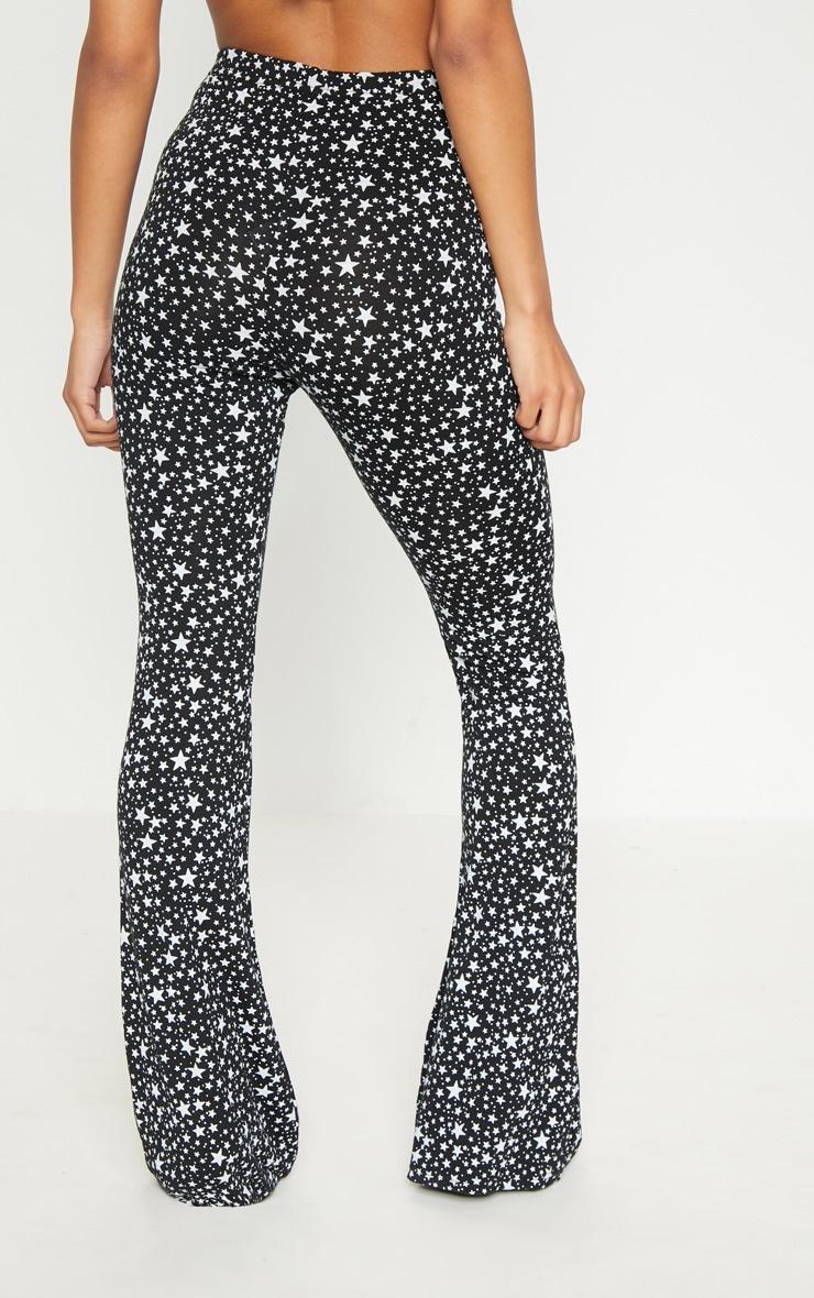 Black Jersey Star Print Flare Trouser 4