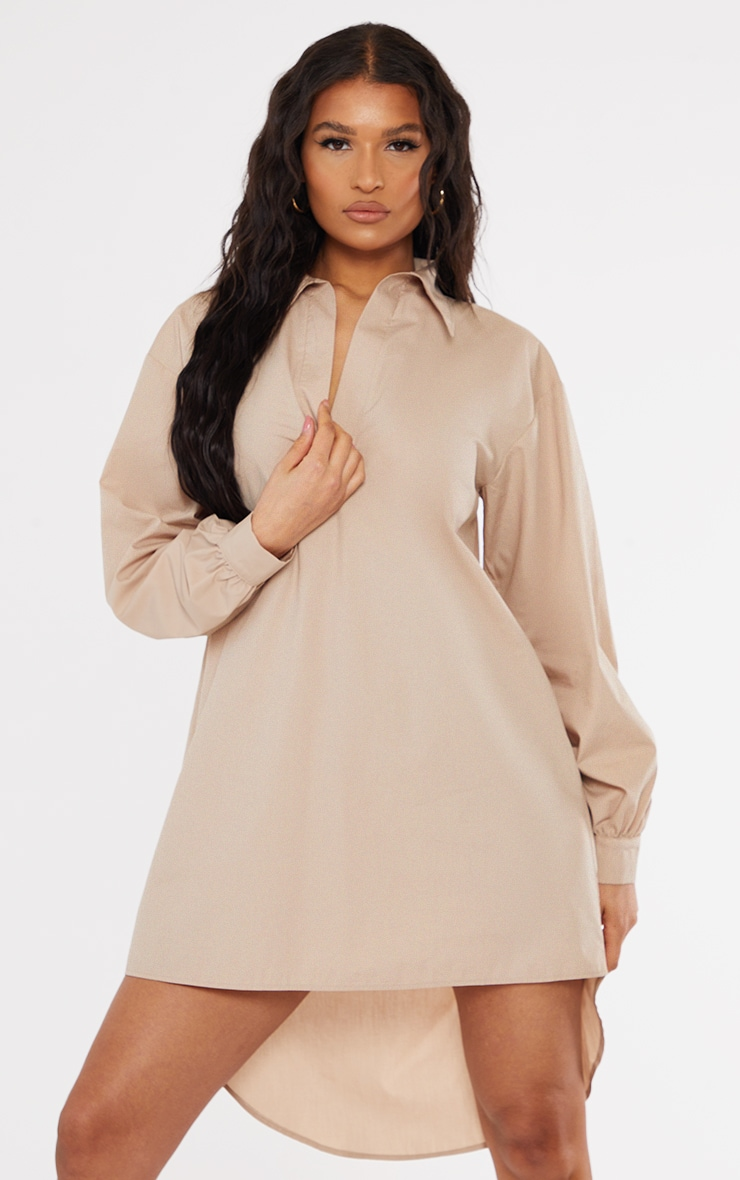 Stone Drop Hem Polo Collar Shirt Dress 3