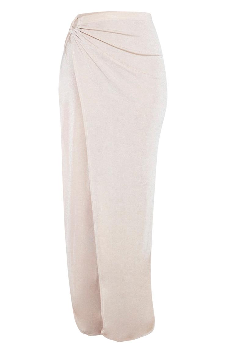 Champagne Slinky Ring Detail Extreme Split Maxi Skirt 3