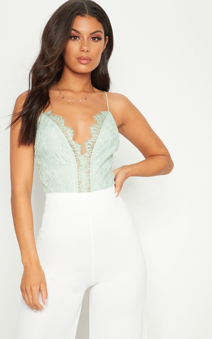Mint Spaghetti Strap Cross Back Lace Cup Thong Bodysuit 1