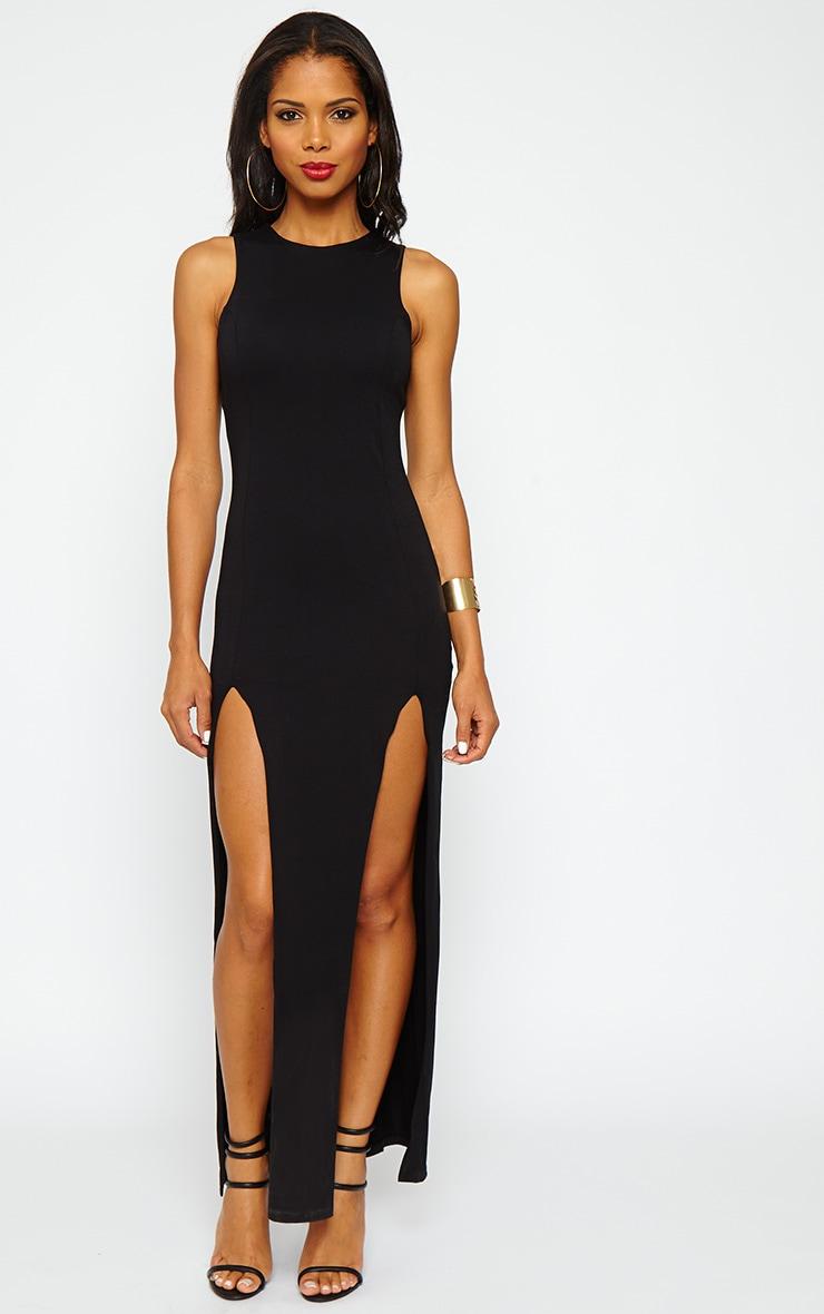 Karina Black Front Split Dress 1