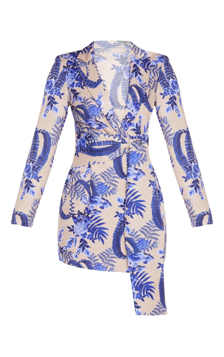 Nude Floral Wrap Detail Blazer Dress 3