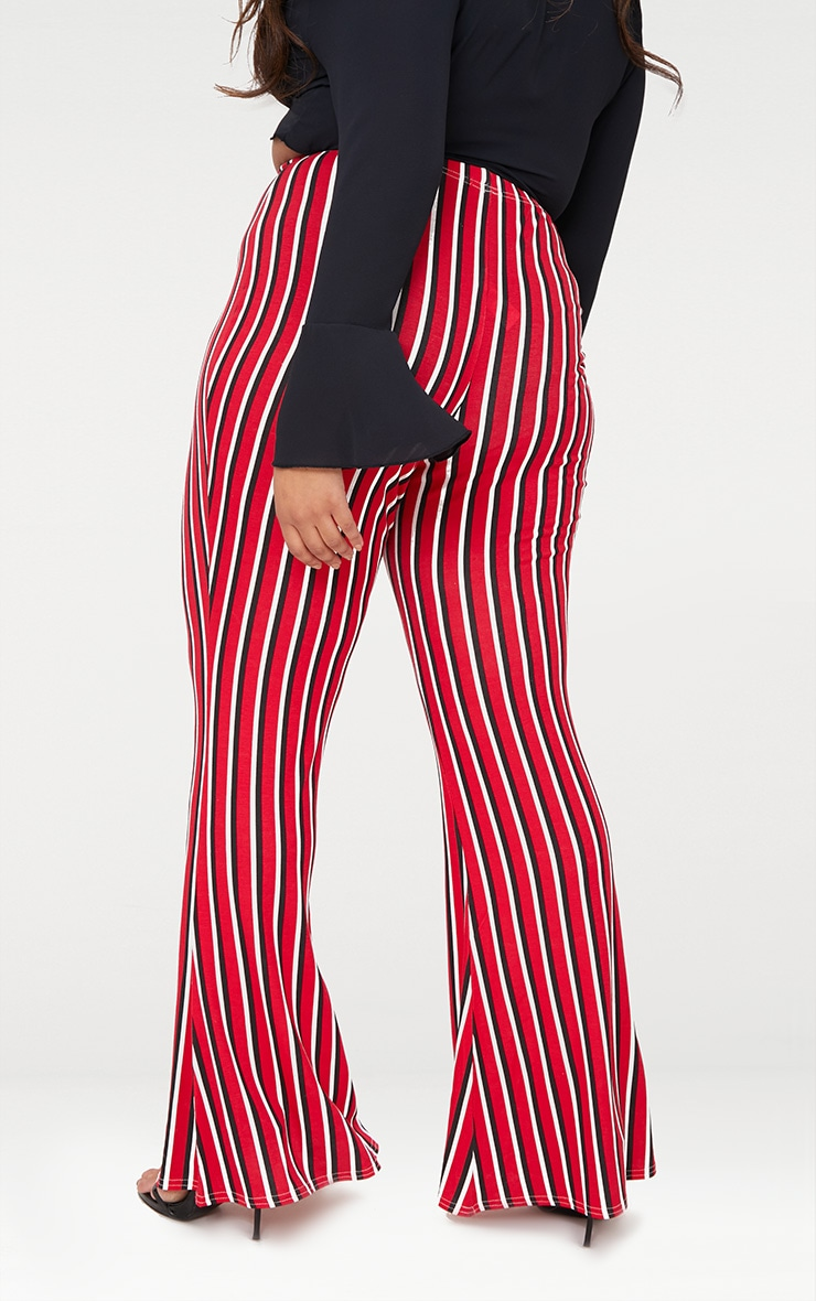 Plus Red Vertical Stripe Flared Trousers 4