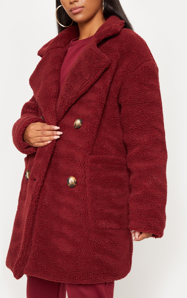 Burgundy Borg Midi Coat  5