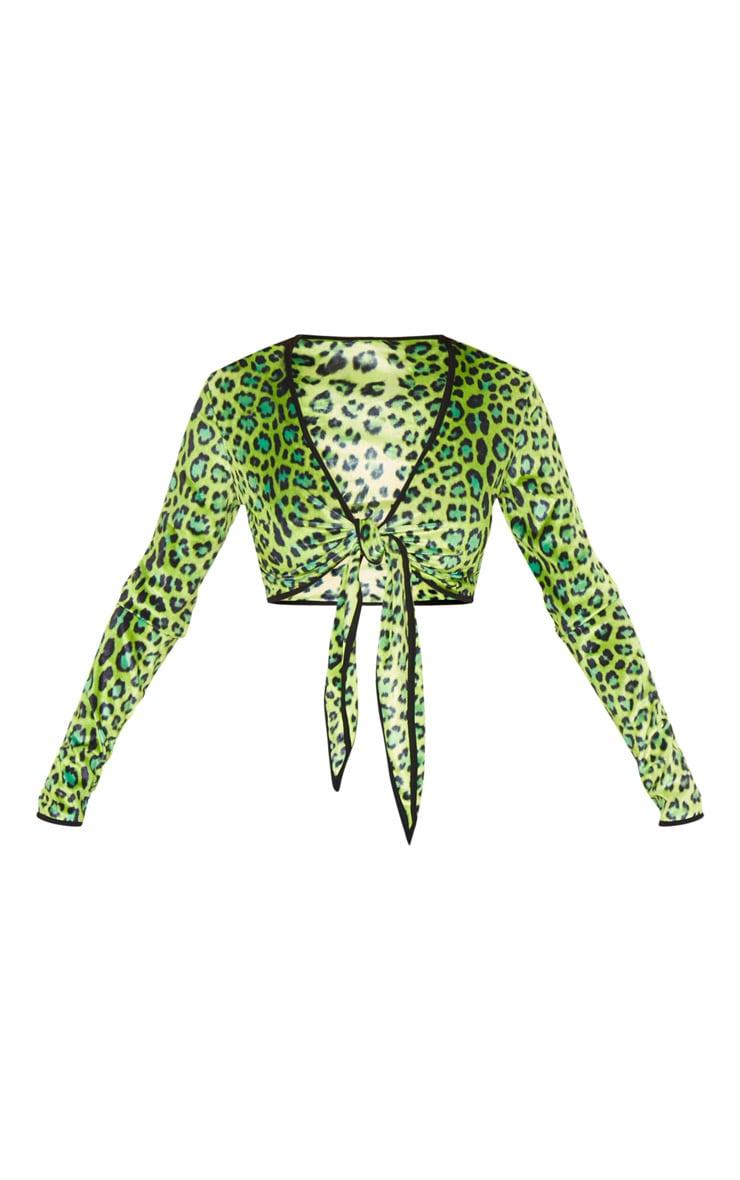 Lime Leopard Printed Velvet Tie Front Crop Top 3