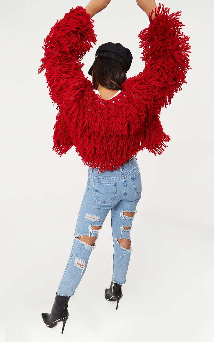 Red Shaggy Knit Cropped Cardigan 4