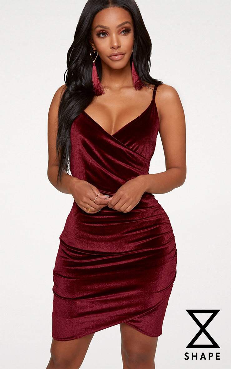 Shape Burgundy Velvet Wrap Front Dress 1