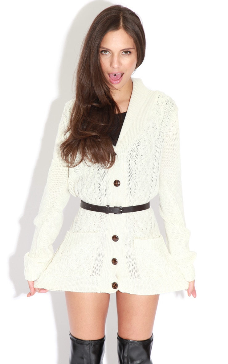 Sara Cream Grandad Style Fisherman Knit Cardigan With Belt 3