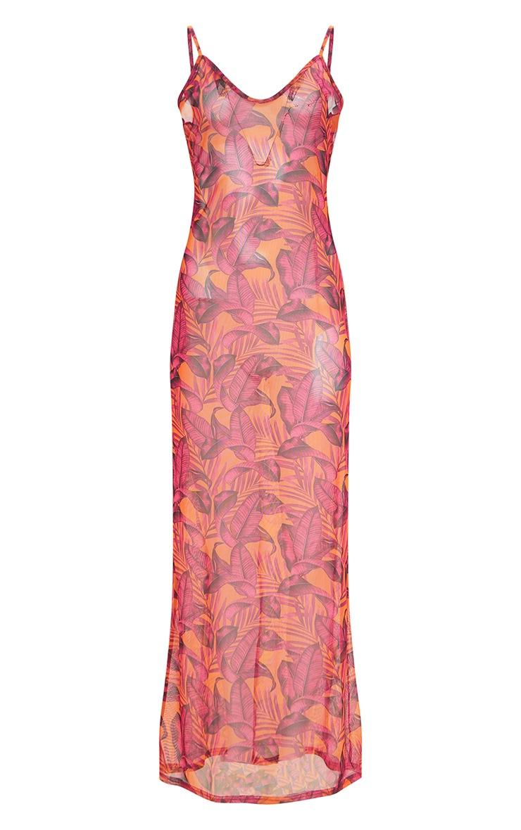 Plus Orange Palm Leaf Mesh Maxi Dress 3