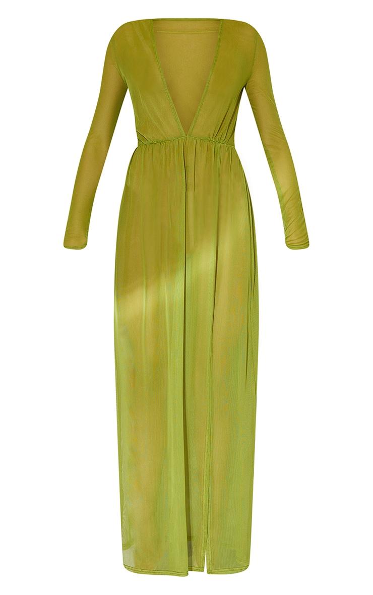 Olive Sheer Mesh Plunge Long Sleeve Split Maxi Dress 5