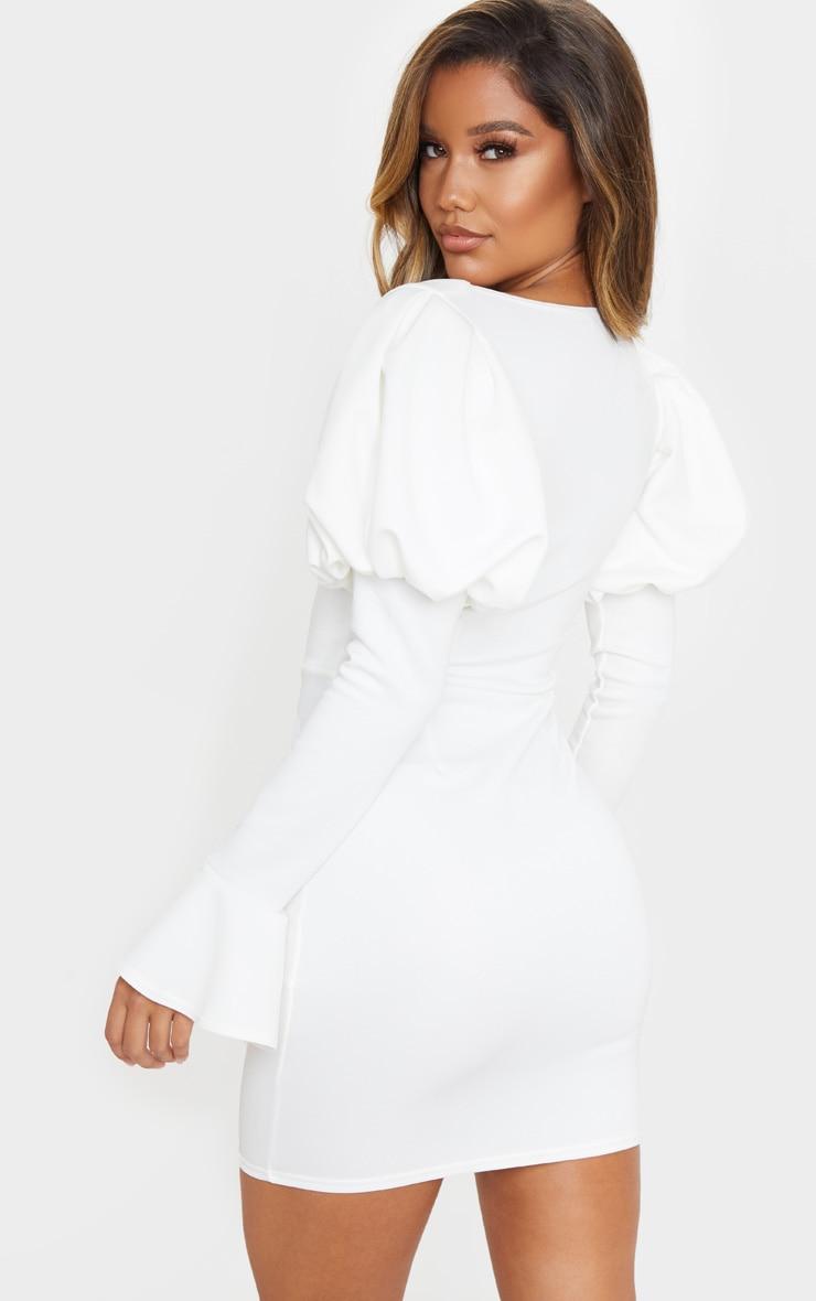 White Scuba Puff Sleeve Bodycon Dress 2