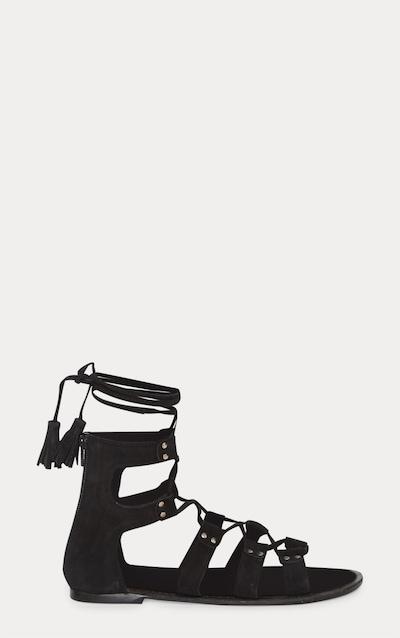 Black Leather Ghillie Sandal