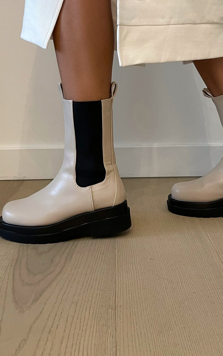 Cream Calf High Chunky Chelsea Boot 1
