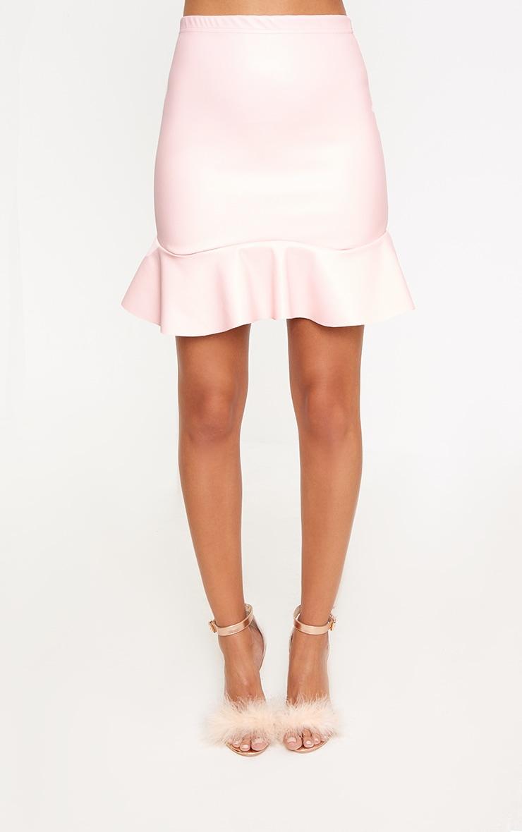 Pink PU Frill Hem Mini Skirt 2