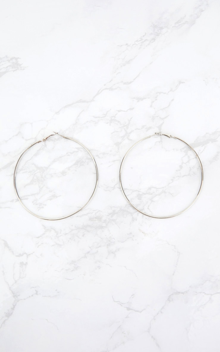Silver 80mm Large Hoop Earrings 3