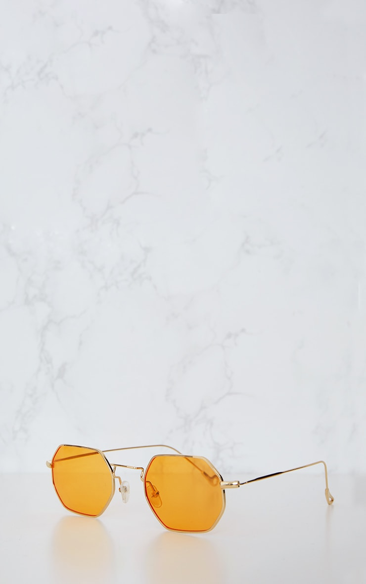 Orange Hexagon Retro Sunglasses 5
