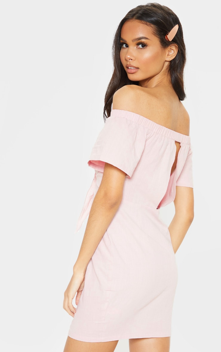Baby Pink Tie Front Bardot Woven Bodycon Dress 2