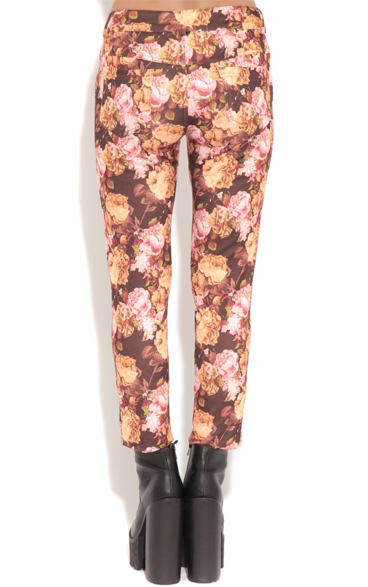 Violet Brown & Beige Floral Print Trousers 2