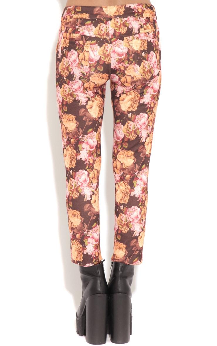 Violet Brown & Beige Floral Print Trousers 2