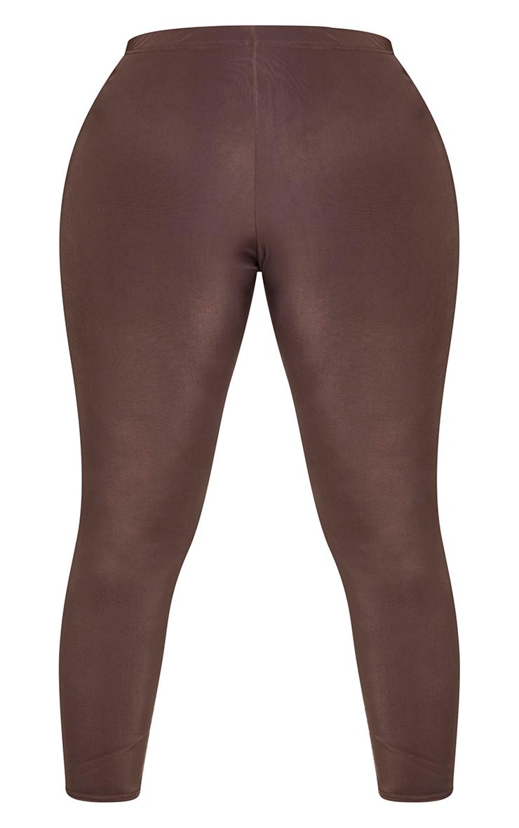 Plus Dark Brown Slinky High Waist Leggings 5
