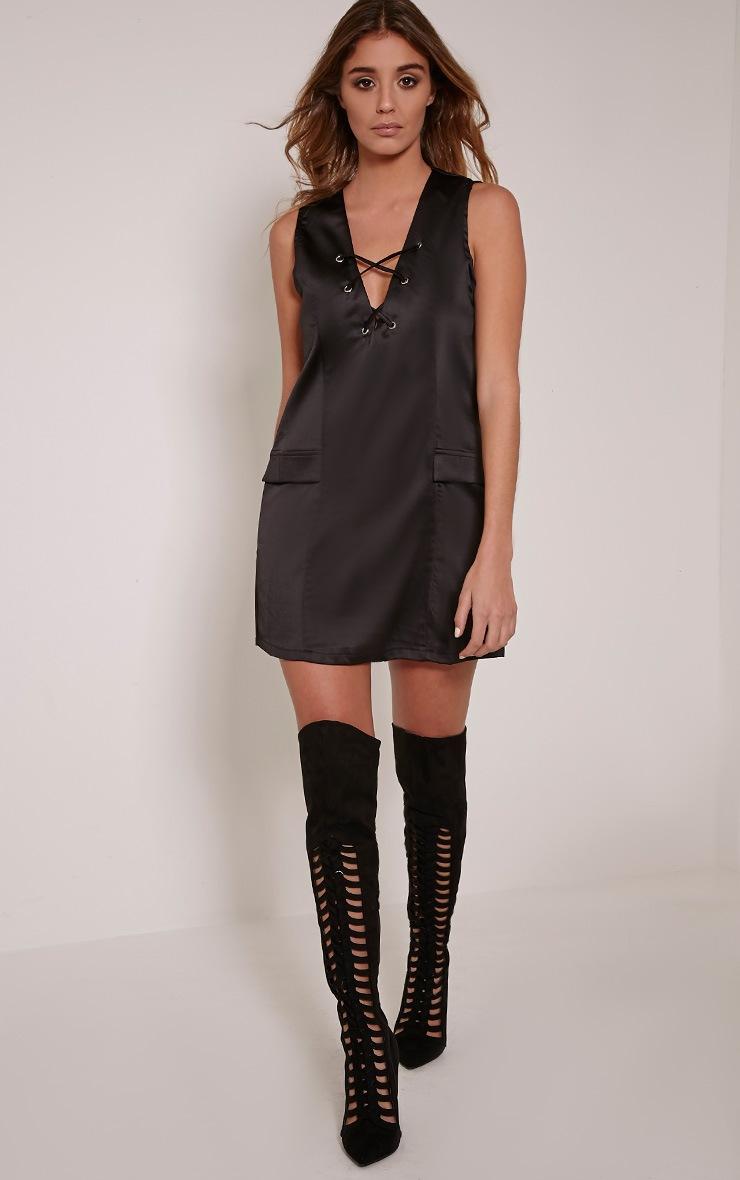 Elliya Black Lace Up Shift Dress 4