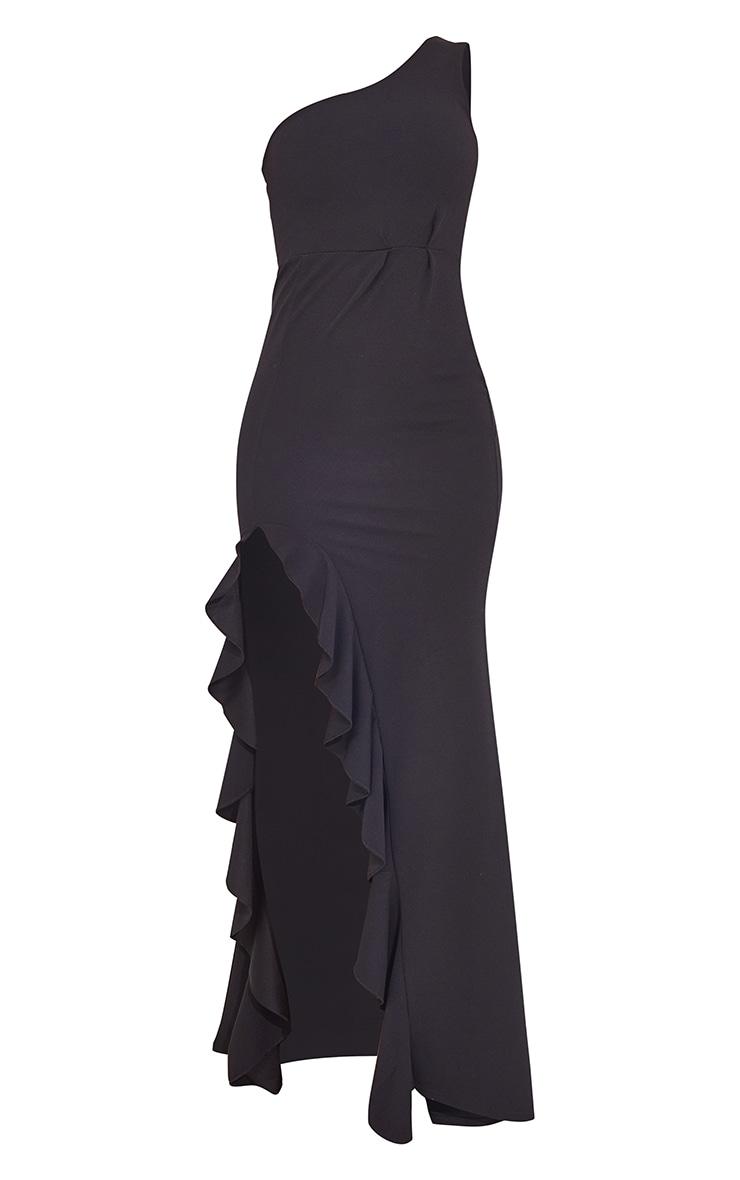 Black One Shoulder Ruffle Hem Maxi Dress 5