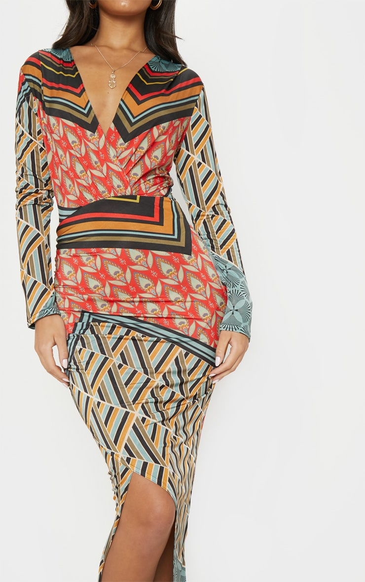 Multi Printed Plunge Wrap Front Maxi Dress 5