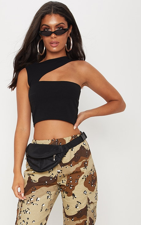 Black Cut Out Sleeveless Crop Top 1