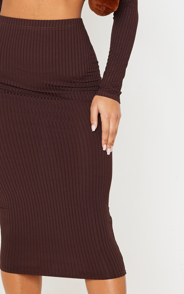 Brown Ribbed High Waist Midi Skirt 5